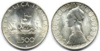 500 lire argento caravelle